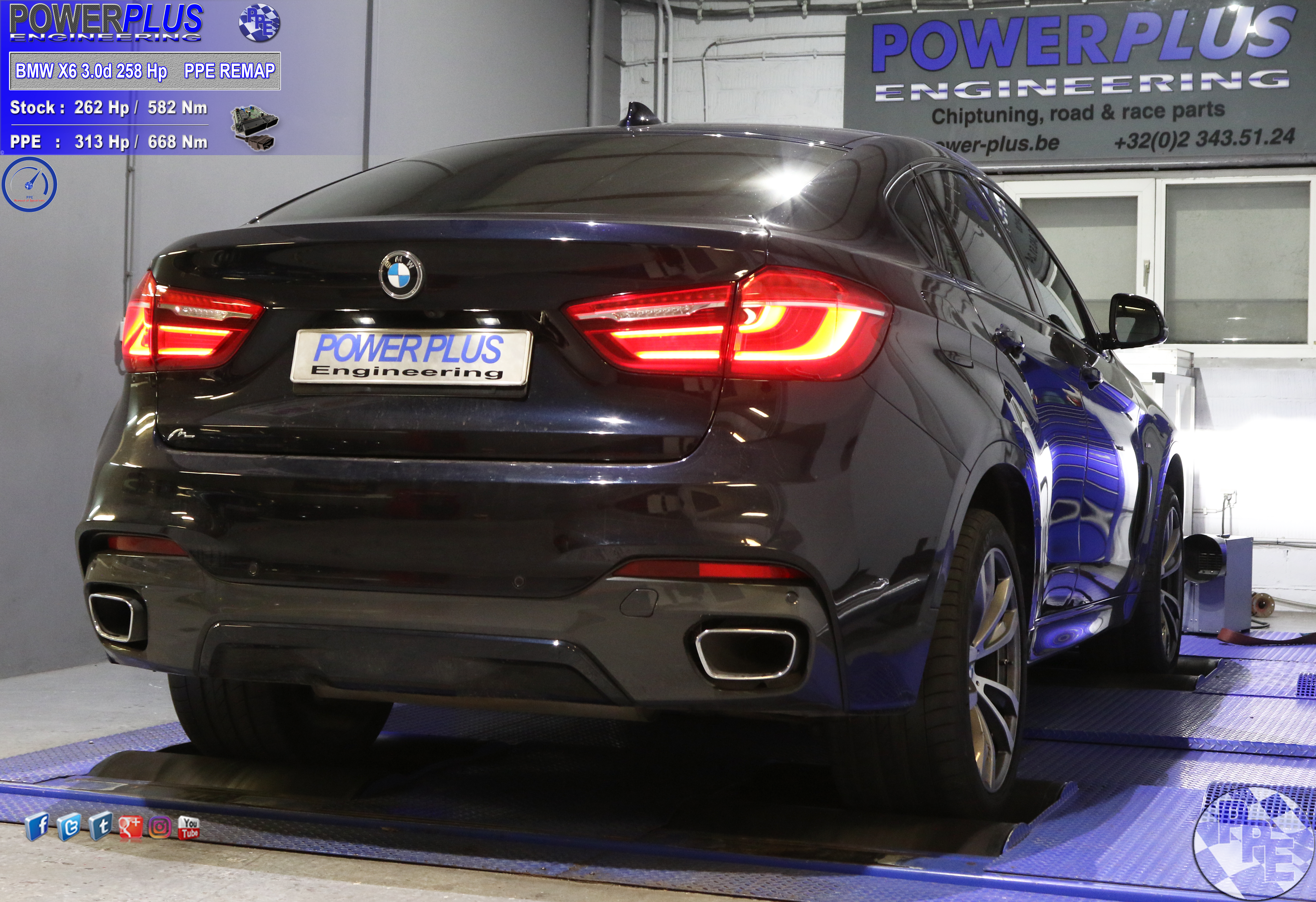 BMW X6 3 0d 258 hp remapped to 313 Hp & 668 Nm